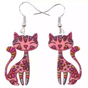 Pink Kitten Acrylic Ear Drop Earrings